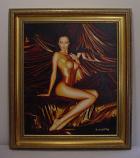 """Golden Nude"" Original Oil Painting, w/Frame"